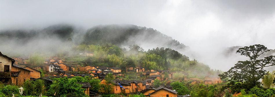 雨中的庆元西川村
