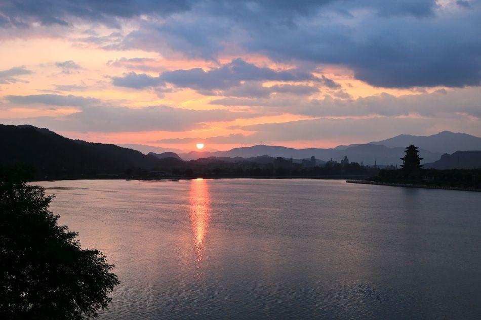 温州瓯江傍晚风景照片